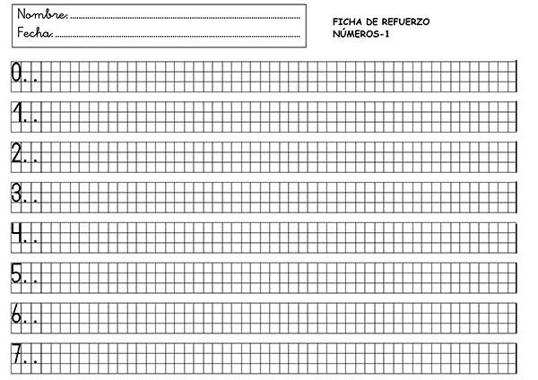 Fichas para aprender a escribir los números | Láminas